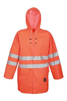 WATERPROOF WARNING JACKET 3/4 Model: 1101 The jacket is fastened with snaps. It has a hood and 2 welded pockets with flaps protection. Reflective tapes on the jacket make workers more visible. The model is made on waterproof fabric Plavitex Fluo and it has been designed to be used at unfavorable weather conditions where visibility is limited. Thanks to double welded high frequency seams the product protects against rain and wind.