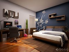 Minus the mural... I really want the navy accent wall with the bed with grey for the others!