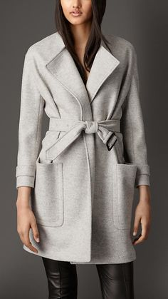 Burberry London Wool Belted Wrap Coat