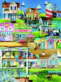 Village by The Sea by Nancy E. Mink - Enjoy this lovely jigsaw in our Pastime Puzzles collection.