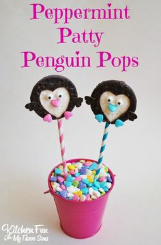 Peppermint Patty Penguin Pops for Valentine's Day...a fun food idea from KitchenFunWithMy3Sons.com