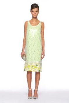 DVF | Tess Embellished Dress In Sketch Garden Lime, Spring 2012: Beginnings