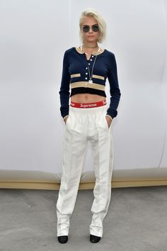 Cara Delevingne looking FLY in Supreme and Chanel at Chanel Fall 2017