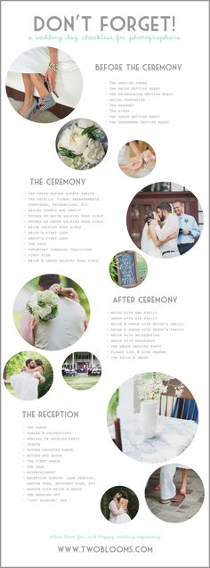 Wedding Checklist Photographer's Wedding Day Checklist - Two Blooms-Lightroom Presets Wedding Photo Checklist, Wedding Photo List, Wedding Day Checklist, Wedding Photography Checklist, Wedding Day Timeline, Wedding Photography Poses, Wedding Photography Inspiration, Wedding Poses, Wedding Tips