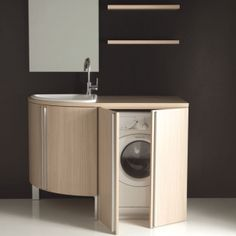 Mobile lavanderia Botero con vasca lavapanni base angolare e base portalavatrice Small Space Bathroom, Small Bathroom Storage, Laundry In Bathroom, Bad Inspiration, Bathroom Inspiration, Bathroom Design Luxury, Home Interior Design, Inside Home, Home Hacks