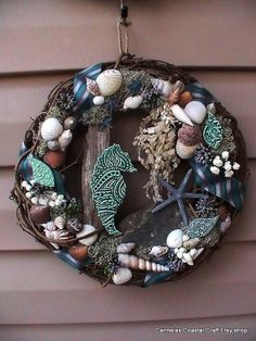 Teal Seahorse and Shell Wreath by CarmelasCoastalCraft on Etsy, $49.00