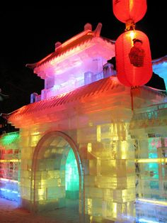 Building carved from ice, Harbin, China festival