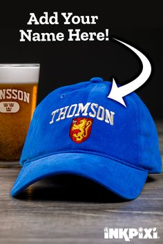 Add your family name to a custom Norwegian Shield baseball cap. Personalize  an embroidered hat 852a827c011b