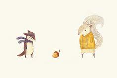 """The Last Acorn of Autumn"" by Teagan White (via Society6) #Squirrel #Illustration"
