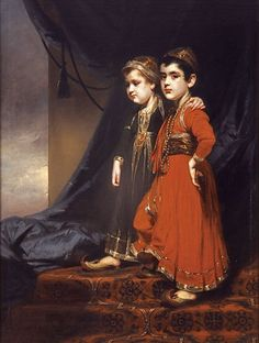 """""""The Kirkpatrick Children"""", by George Chinnery, 1805. Collection, Hong Kong & Shanghai Bank. - See more at: http://twonerdyhistorygirls.blogspot.com/2015/03/cast-across-sea-18th-c-children-born-in.html#sthash.onJW2dQa.dpuf"""