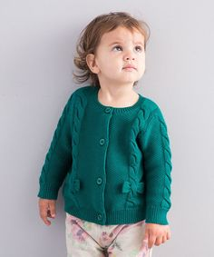 Look at this #zulilyfind! Green Cable-Knit Bow Cardigan - Infant & Toddler by dave & bella #zulilyfinds