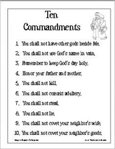 Ten Commandments Poster Version 1 | Religious activities and free ...