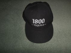 Men's Black, Silver 1800 TEQUILA Embroidered Logo Hat, Size L/XL Stretch, GUC! #1800Tequila #BaseballCap