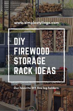 DIY Outdoor Firewood Storage Rack Ideas - fire logs - outdoor decor - Simple Stylings - www.simplestylings.com