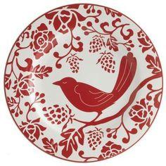 Red bird, plate