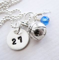 bce0147a04a4 Basketball Necklace Personalized Initial by PatriciaAnnJewelry Basketball  Necklace