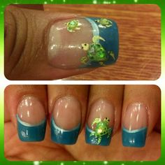 Sea turtle sculpted nail art.