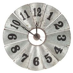 Galvanized Metal Windmill Clock  Placed over entry table
