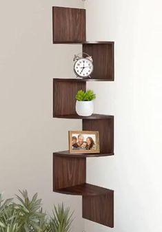 Corner Shelf Design, Diy Corner Shelf, Wall Mounted Corner Shelves, Corner Bookshelves, Wall Shelves Design, Glass Shelves, Corner Shelves Living Room, Wooden Shelf Design, Cool Shelves