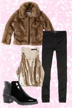 If you're going outside — like to see the ball drop or go to your town's First Night — you want to bundle up warm. A big cozy faux fur jacket does the trick. When you come in for hot chocolate at the end of the night, you can take off the jacket to reveal major sequins underneath. You could even layer a turtleneck under this look for extra warmth.