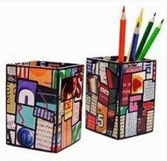 Pencil holder Construct a little box to hold your pencils in from your old magazines....