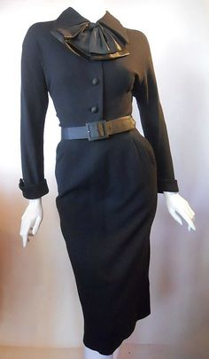 ~1950 | Black Wool Dress with Satin Silk Collar Bow and Leather Belt by Lilli Ann~