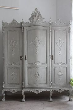 """French Antique Painted Armoire Louis Ⅹ Ⅴ"" ancient and modern times, gently Coconfouato. (Would like to see it in natural wood stain, though it is very nicely shabby-chic in white! Decor, Shabby Chic Dresser, French Country House, Shabby Chic, French Decor, Chic Furniture, Vintage Furniture, Painted Armoire, Beautiful Furniture"