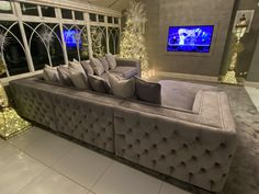 Bespoke built Leon corner sofa we built ago, r. - Bespoke built Leon corner sofa we built ago, recovered in glacier grey velvet with chesterfield buttoned outside backs an arms Custom Sofa, Minimalist Kitchen, Corner Sofa, Chesterfield, Bespoke, Upholstery, Couch, Liverpool, Building