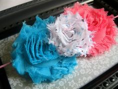 Perfect for Election Day? ;) FREE SHIPPING - Playful - A Trio of Shabby Chiffon Flowers on an Elastic Headband. $10.00, via Etsy.