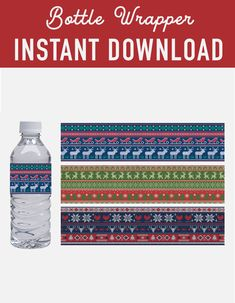 SALE Christmas water bottle wrapper labels - ugly sweater christmas pattern label bottle wrapper - christmas decoration - christmas printables - instant download - favor labels wrapper - mineral water label - ugly sweater printable - Christmas DIY kit - DIY christmas - christmas print - xmas printable - christmas party - digital download - digital printable - ugly christmas - sweater pattern - holiday printable - holiday DIY decoration -  holiday labels - printable christmas - party… Diy Ugly Christmas Sweater, Ugly Sweater, Christmas Diy, Xmas, Holiday, Printable Labels, Party Printables, Christmas Printables, New Years Eve Party