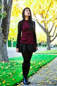 Wearing Zara brocade skirt, DSW boots, and Torn by Ronny Kobo top #streetstyle #fashionblogger #animalprints