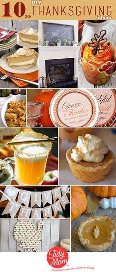 10 DIY Thanksgiving Ideas. Recipes, printables, decor and more! at TidyMom.net