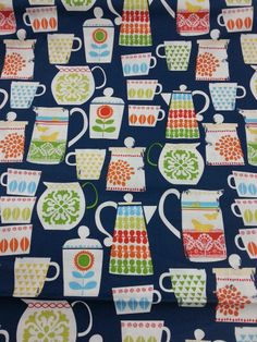 Michael Miller Fabric 100% cotton, Teacups, teapots, coffee, sugar, milk....... perfect to make aprons, teacosy, table runners, bunting and more.   Available from €3.50 per fat quarter at The Quilt Shop, Tuam, Co. Galway.  Call: 0876292886 or find us on facebook!