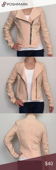 🎉HOST PICK🎉! Gianni Bini peach/nude jacket EUC very chic and zero noticeable wear  Gianni Bini with faux leather details   Size XS  FINAL PRICE DROP Bundle to save. :) Gianni Bini Jackets & Coats