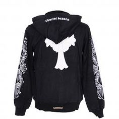028d2dfaaef Cheap Chrome Hearts White Leather Cross Pattern Black Hoodie