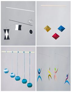 Stimulating senses for the infant. The First Mobiles. Part 2 Montessori Baby, Mobile Montessori, Montessori Bedroom, Maria Montessori, Montessori Activities, Infant Activities, Mobil Origami, Formation Montessori, Mobiles