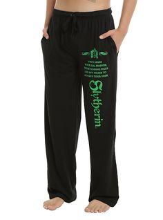 Harry Potter Slytherin Foil Men's Pajama Pants, BLACK