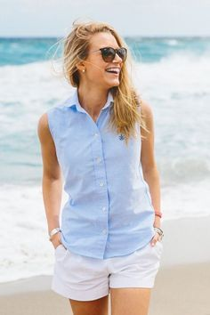 Preppy sleeveless blue Oxford shirt and white shorts Summer Outfits Women 30s, Preppy Summer Outfits, Short Outfits, Cool Outfits, Outfit Summer, Simple Outfits, Memorial Day, Preppy Style, My Style