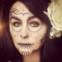 Sugar skull make-up close up