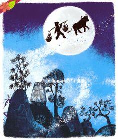 Les Amoureux du ciel, conte chinois, illustrations de Peggy Nille, publié en 2013 par les Éditions Nathan, dans la collection Les petits cailloux du monde
