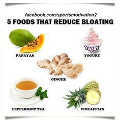 These 5 foods will reduce bloating and improve your digestive health. Get Healthy, Healthy Tips, Healthy Recipes, Healthy Foods, Fit Foods, Healthy Herbs, Healthy Options, Foods To Reduce Bloating, Peppermint Tea