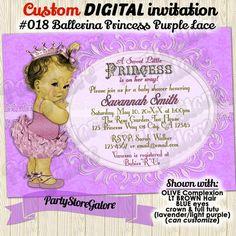 Vintage Princess Ballerina Baby Girl Shower Invitations / girls PURPLE Lavender damask retro victorian / Custom DIGITAL INVITATION #018 by PartyStoreGalore on Etsy https://www.etsy.com/listing/186006623/vintage-princess-ballerina-baby-girl