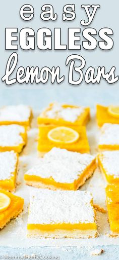 These Eggless Lemon Bars are pretty simple to make and only require 7 ingredients! The shortbread crust is buttery and crunchy which is the perfect match for the lusciously sweet and tart lemon filling. No Egg Desserts, Eggless Desserts, Eggless Recipes, Lemon Dessert Recipes, Unique Desserts, Lemon Recipes, Delicious Desserts, Yummy Food, Plated Desserts