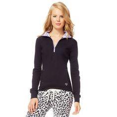e83335471a2ade Aeropostale Womens Quarter Zip Pullover Pajama Sleep T-shirt