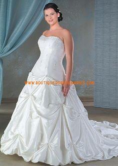 Robe de mariée bustier jupe froncé longue traîne