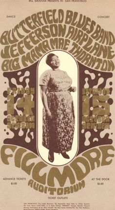 1960s Concert Poster for Big Mama Thornton at San Francisco's Fillmore Auditorium