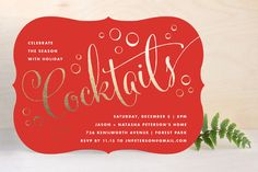 Cocktails At 8 Holiday Party Invitations by Kristie Kern at minted.com