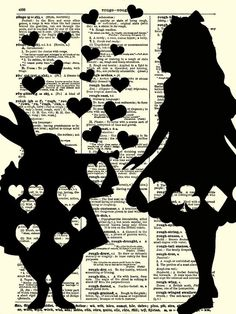 alice in wonder land art | Alice in Wonderland Art Print, Alice and the White Rabbit Dictionary ...