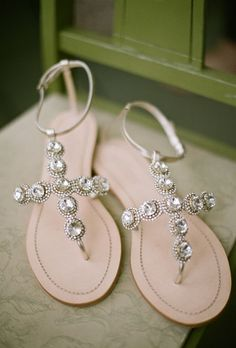 Crystal-covered BHLDN sandals also lend the bride's attire some sparkle.