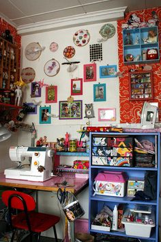 Sewing corner, w/newly decorated wall by Pinkkisfun, via Flickr